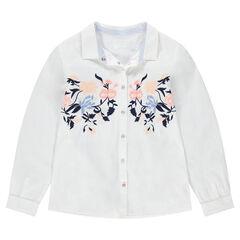 Junior - Chemise manches longues en coton avec fleurs brodées