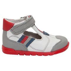 Lederen sandalen met t-strap met contrasterende inzetstukken