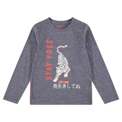 Junior - Tee-shirt manches longues en jersey chiné avec tigre et textes printés