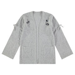Junior - Vest van gemêleerde tricot met badjes en knoopjes