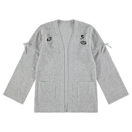 Junior - Gilet en tricot chiné avec badges et nouettes