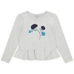 T-shirt manches longues en jersey chiné avec fleurs brodées