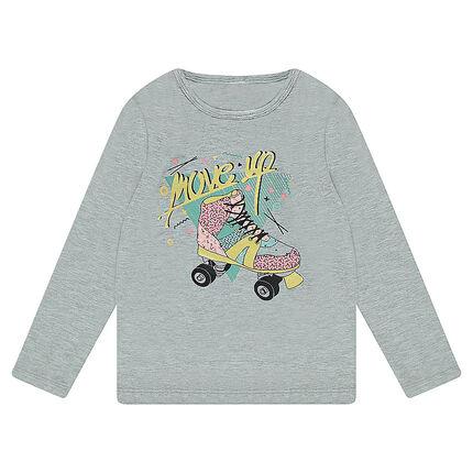 T-shirt met lange mouwen uit jerseystof met schaatsprint