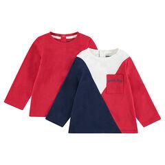 Set met 2 T-shirts met lange mouwen van effen jerseystof / contrasterend met zak