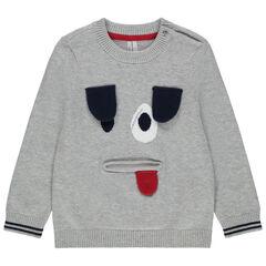 Pull en tricot motif chien en jacquard