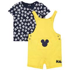 Ensemble T-shirt met oogjes en gele tuinbroek Mickey Disney