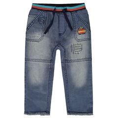 Jeans met used en crinkle effect met hot dog badge en decoratieve scheuren