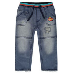 Jeans effet used et crinkle avec badge hot dog et usures fantaisie