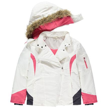 Junior - Blouson de ski doublé micropolaire avec tocuhes de rose et fausse fourrure