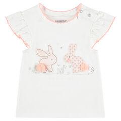 Tee-shirt manches courtes en jersey avec lapins patchés et pompons