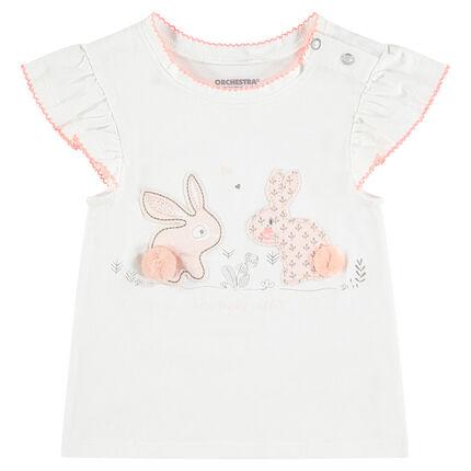 T-shirt met korte mouwen van jerseystof met opgestikte konijnen en pompons