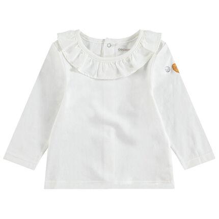Tee-shirt manches longues en coton avec col volanté et coeur pailleté