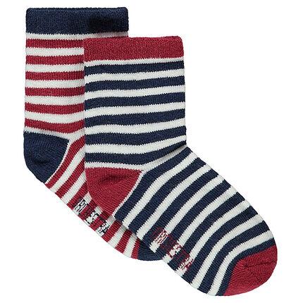 """Set met 2 paar sokken met strepen """"all-over"""""""