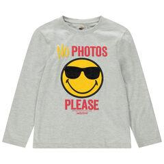 Junior - T-shirt manches longues en jersey avec Smiley et lunettes sherpa