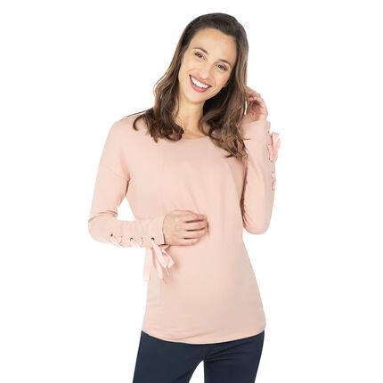 Zwangerschapssweater van molton met veters aan de manchetten