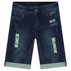 Bermuda van jeans met used-effect en geprinte sterren en badges