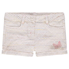 Short en coton effet tweed avec papillon brodé