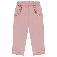 Pantalon en maille fantaisie avec poches volantées