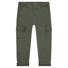 Pantalon uni doublé jersey à poches