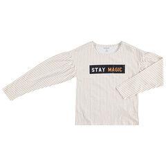 Junior - T-shirt met lange mouwen, fijne streepjes en print met opschrift
