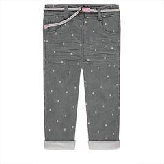 "Jeans met crinkle effect, afneembare riem en sterren ""all-over"""