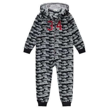 """Junior - Overpyjama van fleece met legermotief """"all-over"""""""
