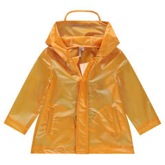 Coupe-vent à capuche jaune avec inscription au dos