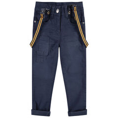 Pantalon en coton surteint effet crinkle avec bretelles rayées amovibles