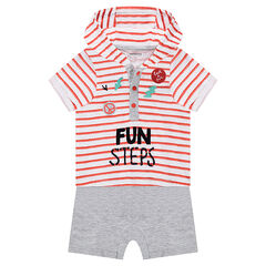 Korte playsuit met kap en 2-in-1 effect en met fantasiebadges