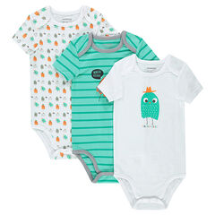 Set met 3 body's met korte mouwen en monsterprint uit jerseystof