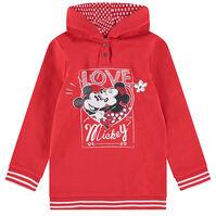 Lange trui met kap van molton en print met pailletjes Mickey en Minnie ©Disney