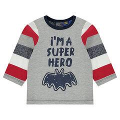 T-shirt met lange mouwen met boodschap en versierd met BATMAN print