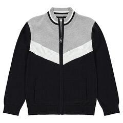 Junior - Vest van tricot met contrasterende band in vintagestijl