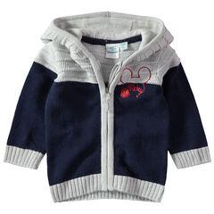 Vest met kap van tricot met borduurwerk van Disney Mickey