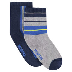Set met 2 paar bijpassende sokken met contrasterende banden