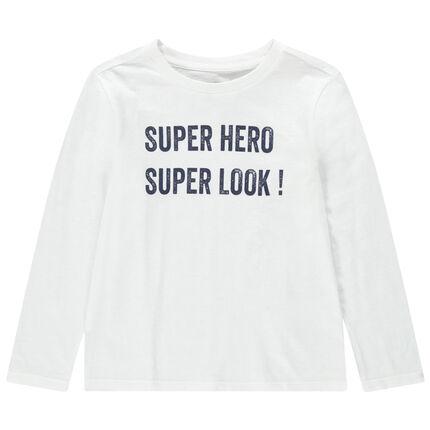 T-shirt manches longues en jersey à message printé