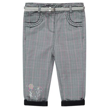 Geruite broek met voering van jerseystof en afneembare zilverkleurige riem
