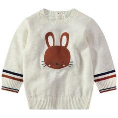 Trui van ecru tricot met konijnenprint en opening aan de achterzijde
