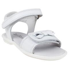 Open schoenen in leder in witte kleur met strikken