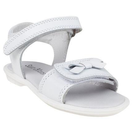 Nu-pieds blancs en cuir à double scratch et noeud du 28 au 35