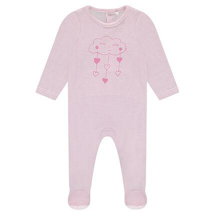 Pyjama van velours met wolken- en hartjesprint