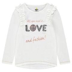 T-shirt met lange mouwen van jerseystof met ©Smiley van magische lovertjes