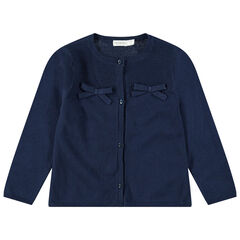 Gilet en tricot bleu marine avec noeuds plats ton sur ton