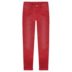 Junior - Pantalon en twill effet used et crinkle coupe slim