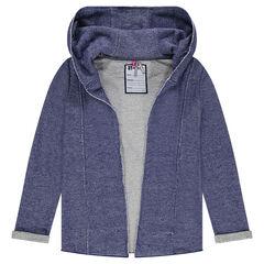 Junior - Lange vest met kap uit molton met jeans effect
