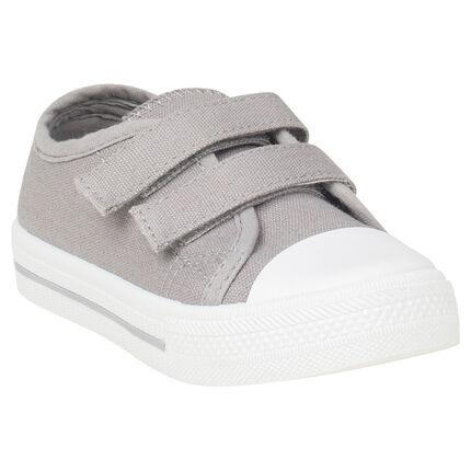 Lage sneakers van linnen met klittenbandsluiting van maat 24 tot 27