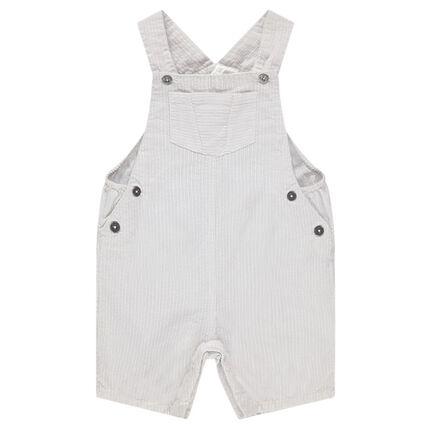 Salopette courte à fines rayures verticales en coton à poches