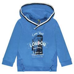 Sweat à capuche avec print London et zips