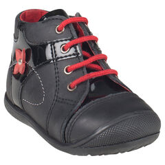 Boots in leder veters in zwarte kleur