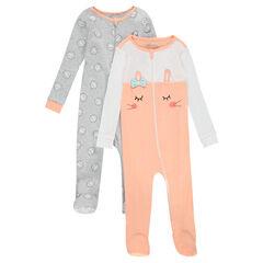 Set met 2 pyjama's uit jerseystof met ritssluiting aan de voorzijde